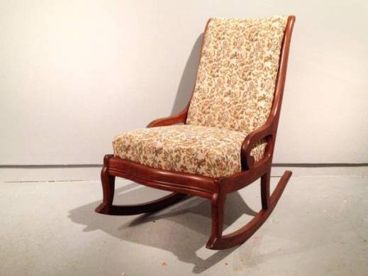 Vintage 1940's petite, armless rocking chair. Beautiful floral woven  tapestry fabric on the seat and back rest. The back is covered in a light  weight, ... - Vintage Armless Rocking Chair. 1940s Nursing Rocker / Sewing Chair